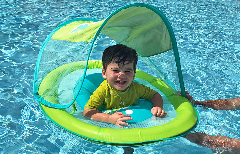 This year, National Learn to Swim Day is May 20th. To celebrate, we'll be hosting a pool party to try out our new Swimways Baby Spring Float with Canopy!