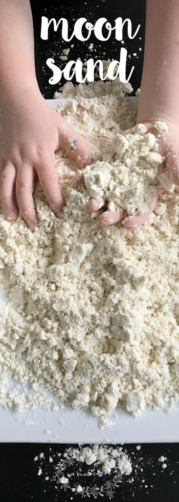 "Our ""recipe"" for homemade cloud dough or moon sand kids love uses just two ingredients. The kids loved running their hands (and toys) through the silky smooth sand...and so did I!"