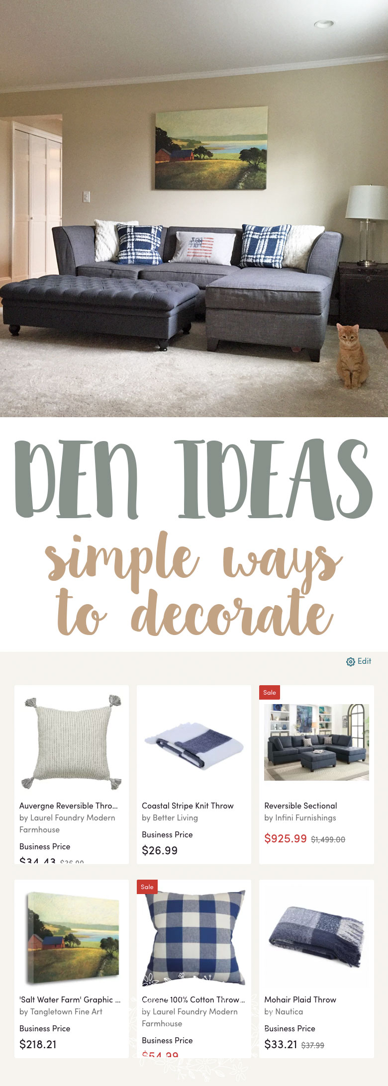 Decorating your home doesn't have to be a stressful task. My den ideas board is a curated collection of things my family and I love. Decorating is easy with these 3 simple steps.