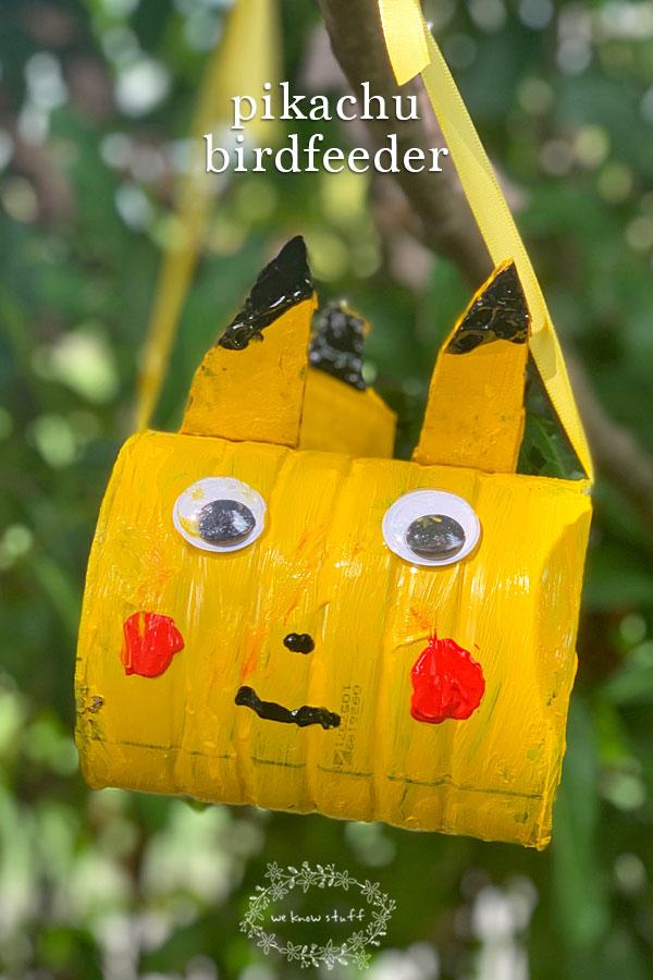 Pikachu Pokémon bird feeder from coffee can