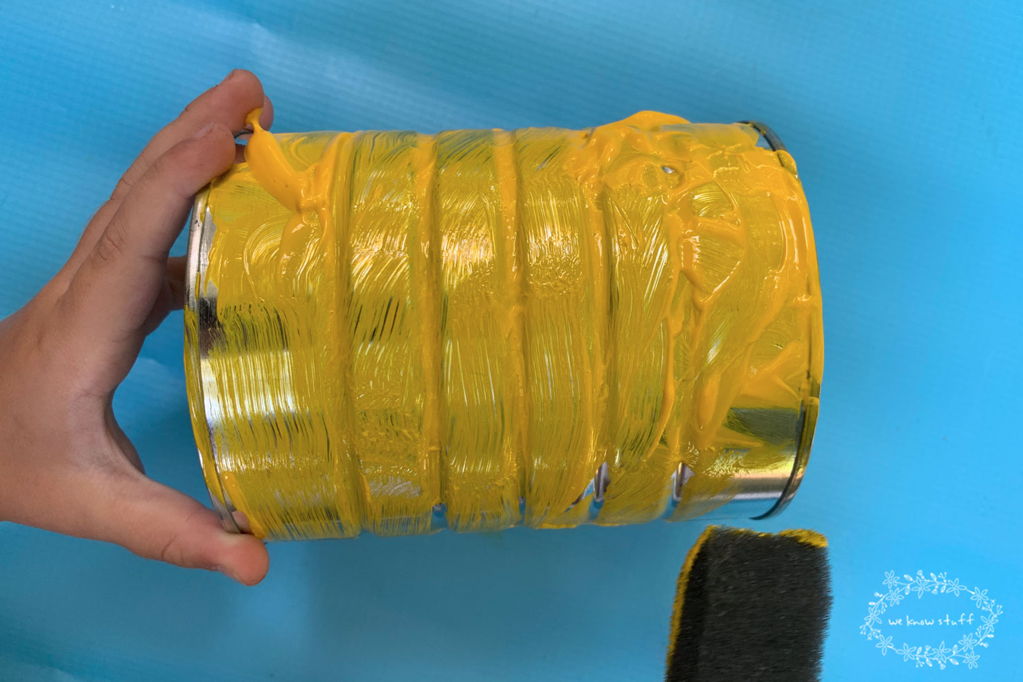 recycled coffee can painted yellow