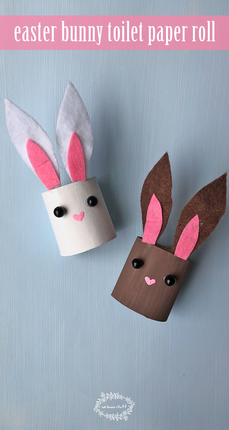 This easter bunny toilet paper roll craft is perfect for preschoolers, grade schoolers and just about anyone that loves rabbit crafts. #eastercraft #preschoolcraft #kidscraft #rabbitcraft #bunnycraft #recycledcrafts #toiletpaperrollcraft