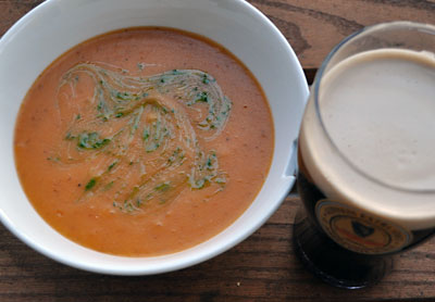 Tomato and Potato Soup is a classic Irish recipe. When topped with Parsley Pistou, it's a standout dish! From the Marlfield House in County Wexford, Ireland.