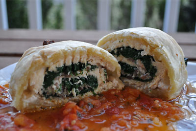 https://www.weknowstuff.us.com Chicken & Mushrooms in Puff Pastry with Tomato-Tarragon Sauce, www.weknowstuff.us.com